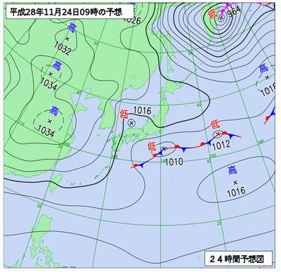 平成28年11月24日午前9時の予想天気図。南岸低気圧の様子